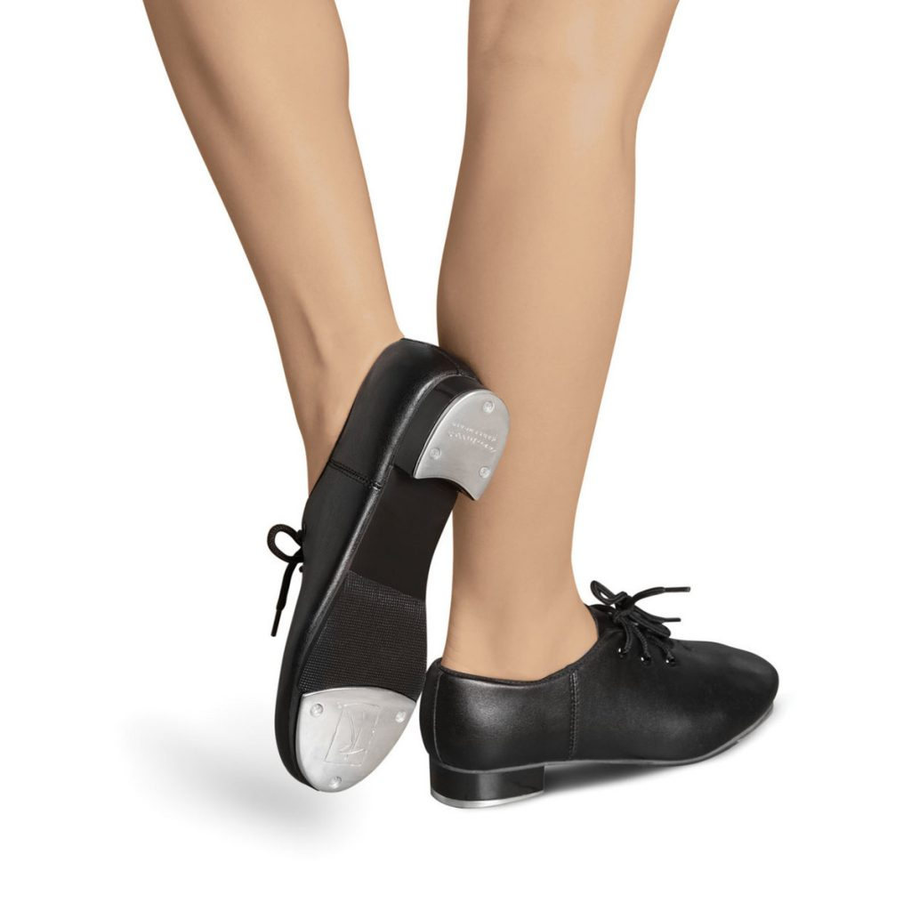 Black Matte Leather Tap Shoe with Laces
